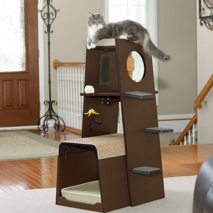 Sauder Modular Modern Cat Tower - A contemporary design and dark color palette make this Sauder Modular Modern Cat Tower a handsome cat tower you'll be proud to display. Two nestin...