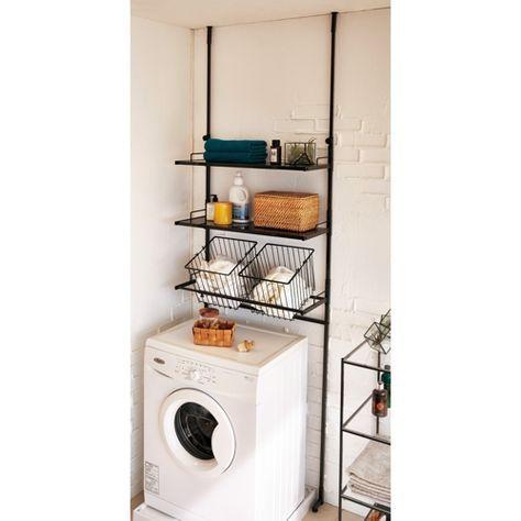 すっきり見える細めの角パイプがクールな印象のランドリーラックです。薄型の突っ張り式なので圧迫感なく洗濯機置き場に設置できます。水回りの収納を楽しくする3色をご用意しました。洗濯かご付きタイプです。