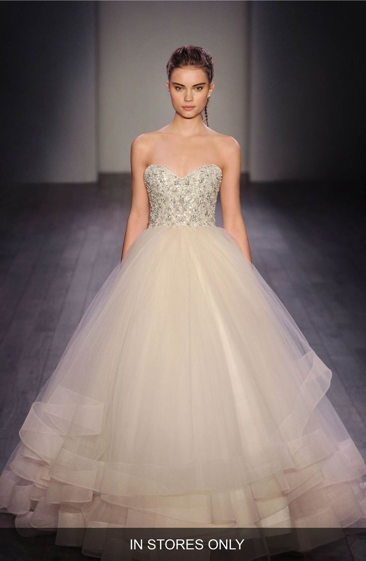 Main Image - Lazaro Embellished Strapless Organza & Tulle Ballgown (In Stores Only)