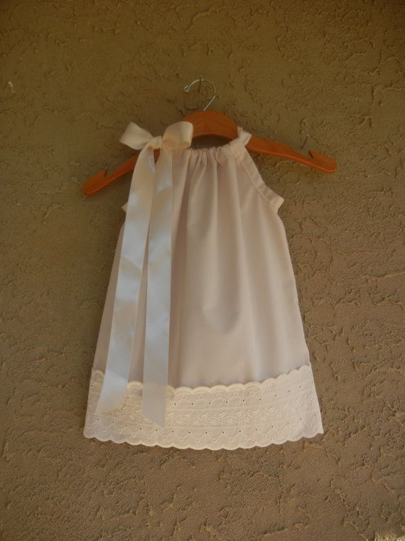 Ivory Pillowcase Dress with Eyelet Lace - sizes 3m-5T.....PERFECT for flower girls, BAPTISMS, weddings, BEACH pictures