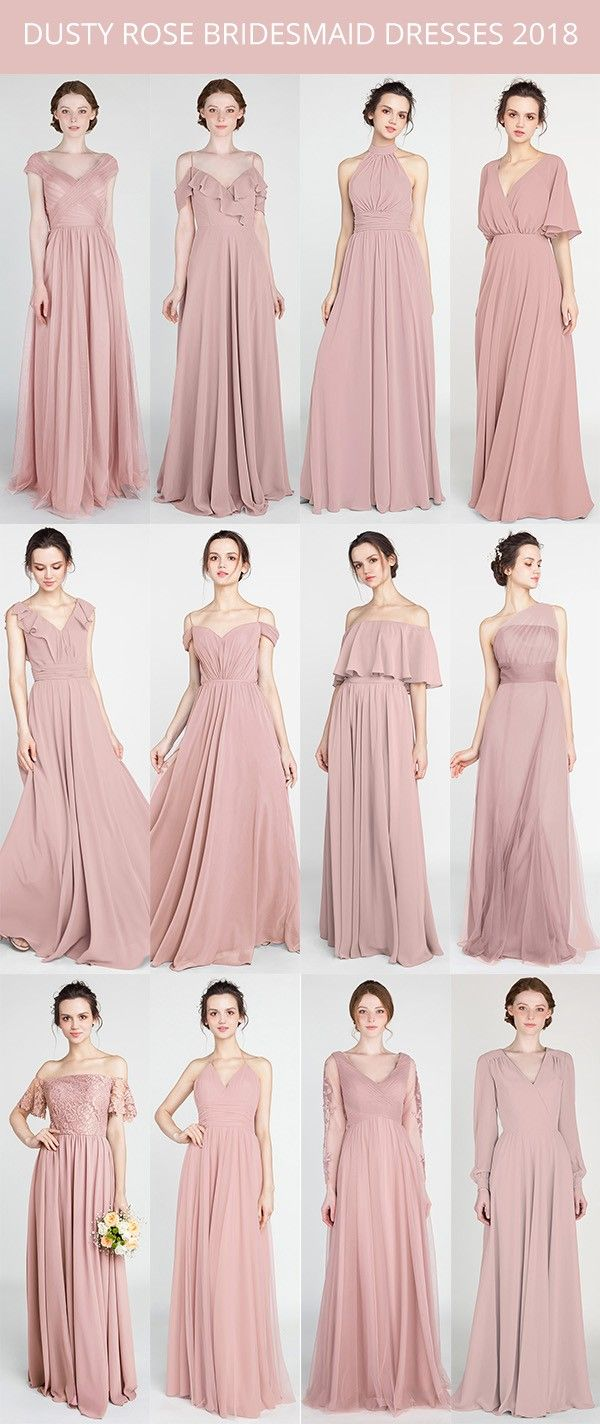 trending dusty rose bridesmaid dresses for 2018 #dustyrosewedding #bridalparty #weddingcolors #weddingtrends
