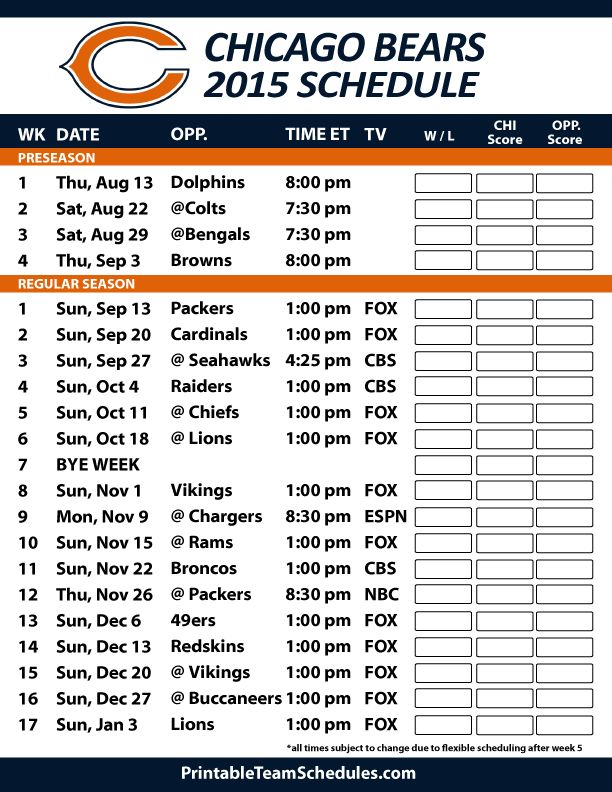 Chicago Bears 2015 Schedule. Printable version here: http://printableteamschedules.com/NFL/chicagobearsschedule.php