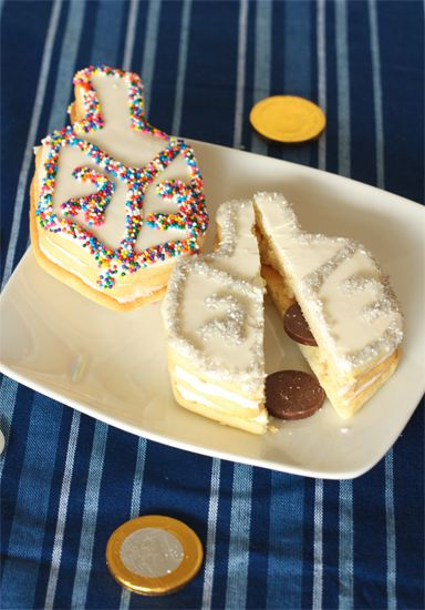 Dreidel Cookies with a Sweet Surprise. Break these cookies open and out fall chocolate gelt!
