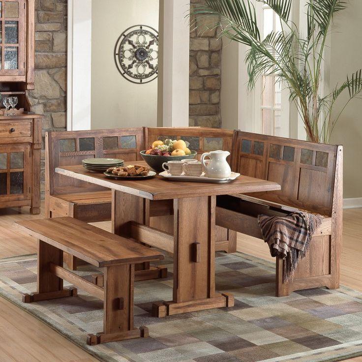 sunny designs sedona 4 piece breakfast nook set 0219ro dining table benchkitchen. beautiful ideas. Home Design Ideas