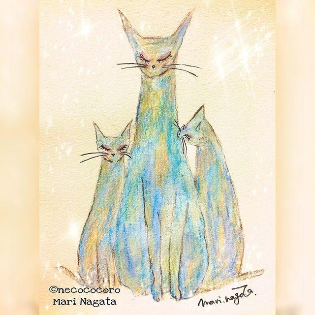 title「power」2017  あなたが私を「私」に戻してくれる。 心の痛みをゆっくり、ゆっくり癒してくれるんだ。  #cat #cat_picture #necococoro #art #color #ねこ #猫が好き #ねこ部  #猫の絵 #作品 #私 #me #癒し #原動力 #power  #心の痛み #心 #愛猫 #ペットロス #虹の橋 #title_power #永田真理