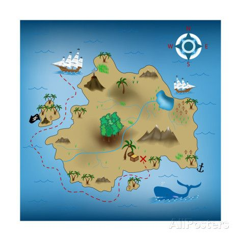 Pirate Treasure Map - Posters av miskokordic på AllPosters.se