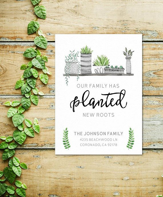 Moving Announcement Card 5 x 7 Planted New Roots Moving Card