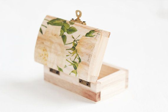 Small wooden box for wedding with roses by MissVintageWedding