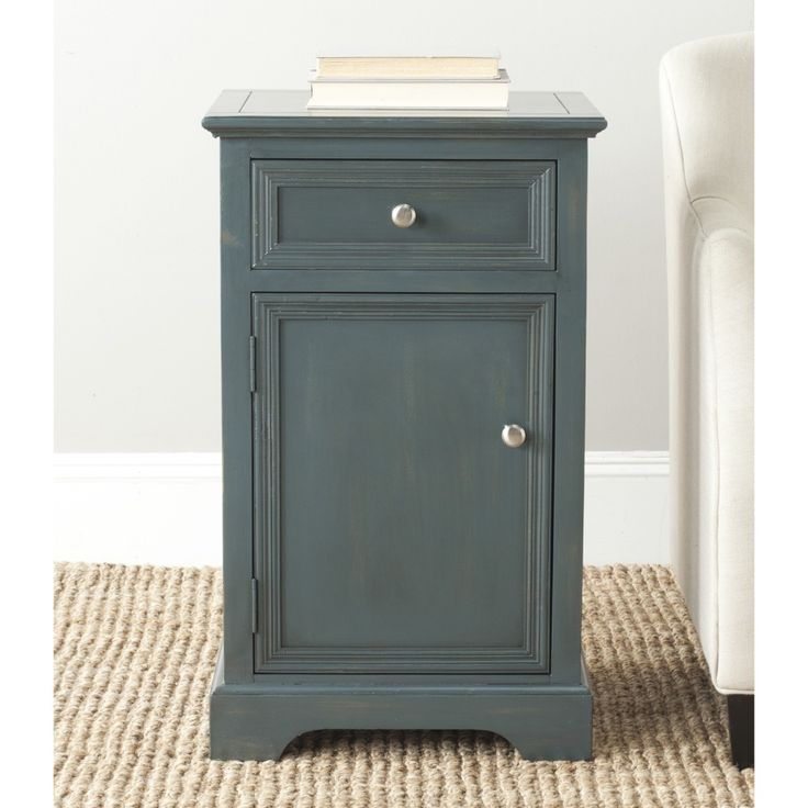 Classic Louis Philippe style gets a relaxed French country update in the Jarome end table with chic dark teal finish on sturdy pine wood.