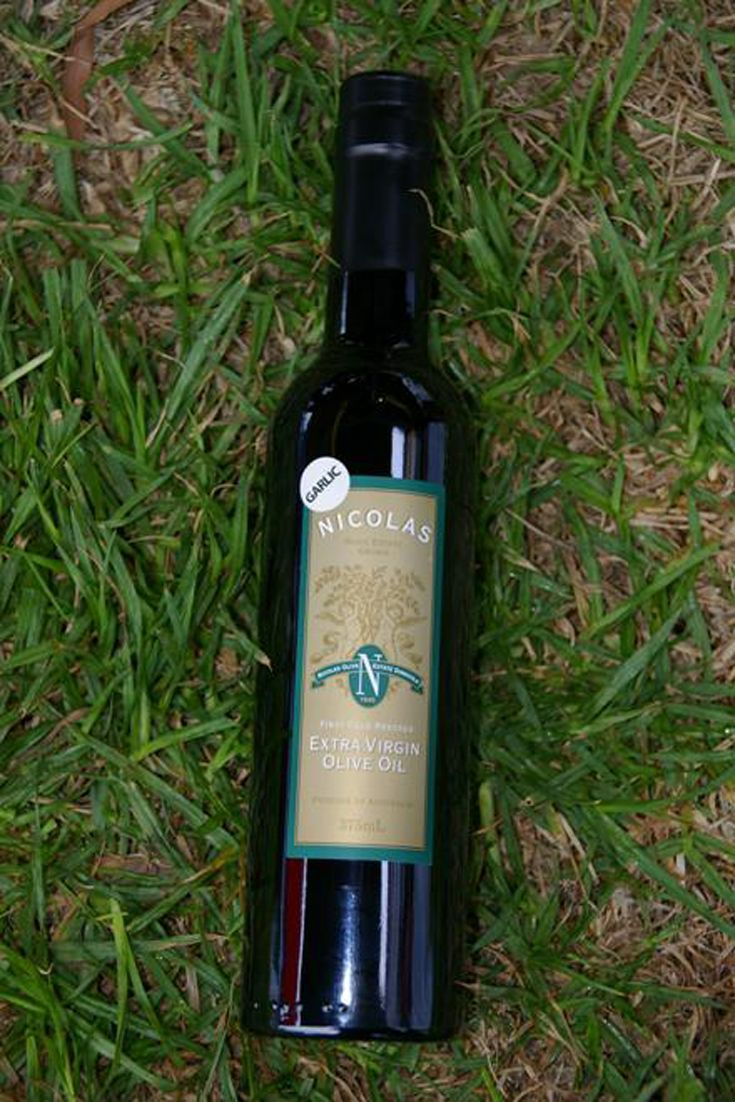 Extra Virgin Olive Oil - Garlic - Nicolas Olive Estate. 375ml Extra Virgin Olive Oil First Cold Press - infused with garlic - presented in the Bordelaise bottle.