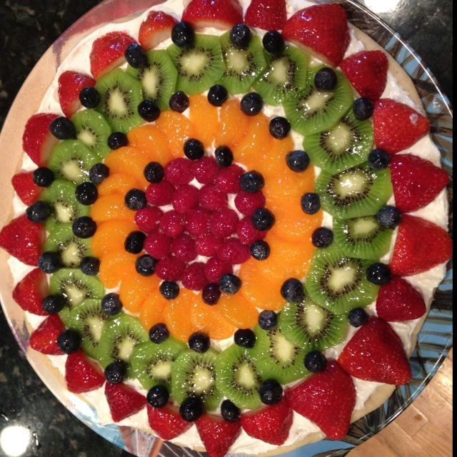 Easy Fruit Tart- Take A Pack Of Sugar Cookie Dough And Flatten Into Big Cookie Shape.  Bake At 350 For 18 Mins. Cool. Top With 1 Pack Soften Cream Cheese And Small Tub Of Cool Whip Mixed Together. Layer Fruit And Glaze With Apple Jelly That U Heat In Microwave To Melt!  Enjoy!