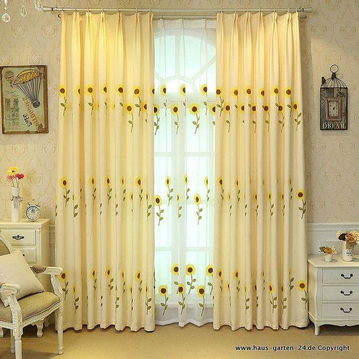 Heimtextilien   Wohnzimmer Deko - Vorhang mit Sonnenblumen ...