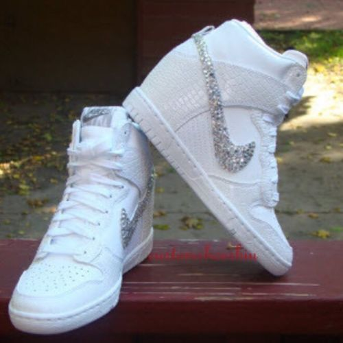 Discount Aug 2015 Shoes Nike Bridal Swarovski Crystal Dunk Sky Hi Wedge Sneaker In White