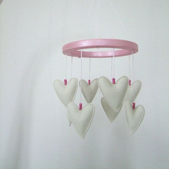 Cot mobile with white hearts by ESKAmuhely on Etsy