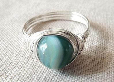 Green Agate ring  wire wrap ring  green stone by PepperandPomme