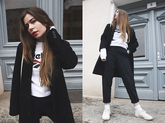 Get this look: http://lb.nu/look/8628487  More looks by Elaine Hennings: http://lb.nu/dontbearunaway  Items in this look:  Reebok Jumper, Asos Trousers, Topman Coat, Reebok Shoes   #casual #sporty #street