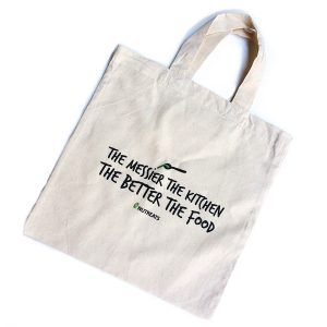 """The Messier The Kitchen"" Cotton Tote. Buy it here: https://www.nutreats.co.za/shop/kitchen-cotton-tote/"