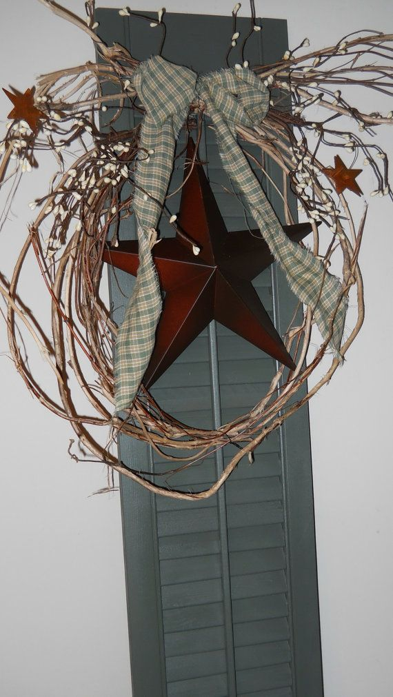 Primitive country homespun sage green shutter ~ Country Craft House Original