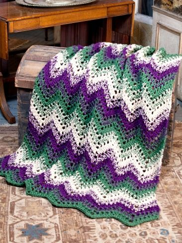 Knitting Pattern For Rippling Waves Afghan : Woodland Waves Throw Yarn Free Knitting Patterns Crochet Patterns Yar...