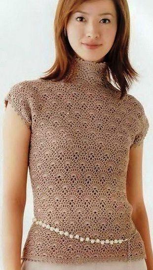 Вязанная крючком кофта-Gorgeous beige crochet top with graph pattern