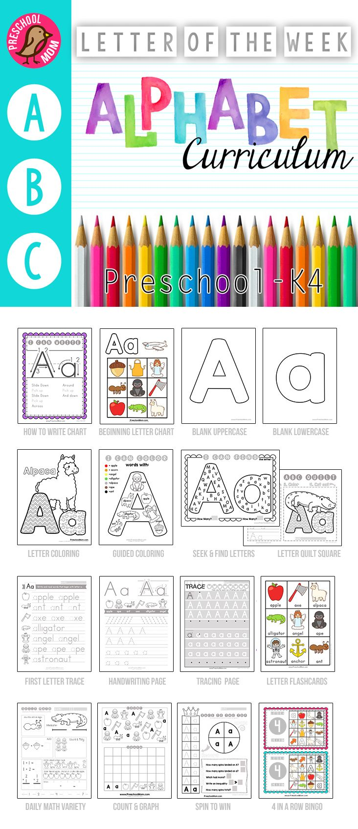 650+ Page Alphabet Curriculum.    No Prep Letter of the Week Preschool and K4 Alphabet Binder.  Worksheets, Games, Math and more for 3 or 4 day a week schedule.