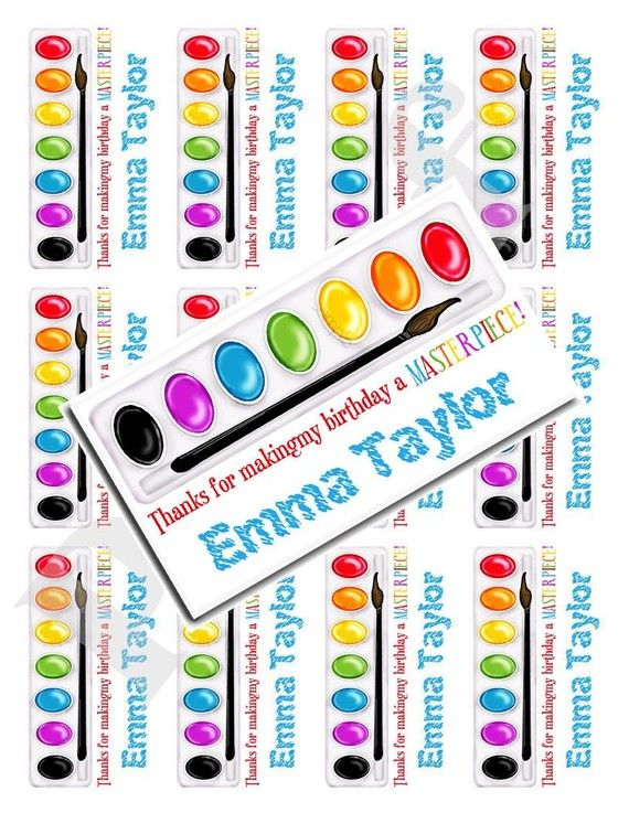 Art Stickers, Art party, Paint Box, Personalized Stickers, Painting Party, Birthday,  favor, labels, goody bag stickers, set of 12