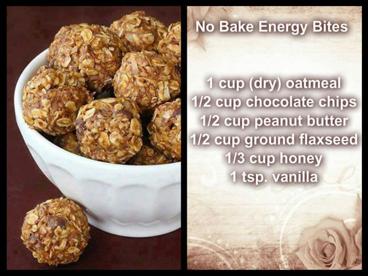 """No-Bake Energy Cookie Balls: """"1 cup (dry) oatmeal, 1/2 cup chocolate chips, 1/2 cup peanut butter, 1/2 cup ground flaxseed, 1/3 cup honey, 1 tsp. vanilla."""" Very flexible recipe! I've used nutella, almonds, dried currants, and various other substitutions. The result is invariably scrumptious. And very easy to make with children."""