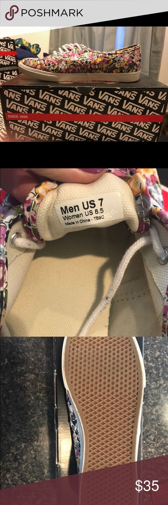 Vans Lo Pro Flowers.  Size 8.5 Bring on Spring with these Vans in a pretty floral print.  Only worn a few times, the uppers are in excellent condition with minimal wear on the soles. Vans Shoes Sneakers