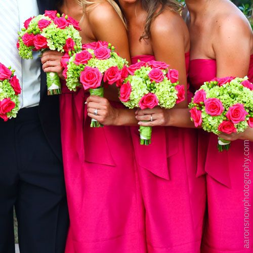 Green hydrangea with hypericum berries and pink roses: Idea, Color, Pink Bridesmaid Dresses, Hot Pink, Pink Rose, Green Hydrangea, Bridesmaid Bouquets, Flower, Hydrangeas