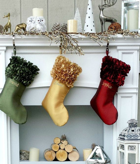 Ruffle Cuff Elegant Embroidered Christmas Stockings by eugenie2
