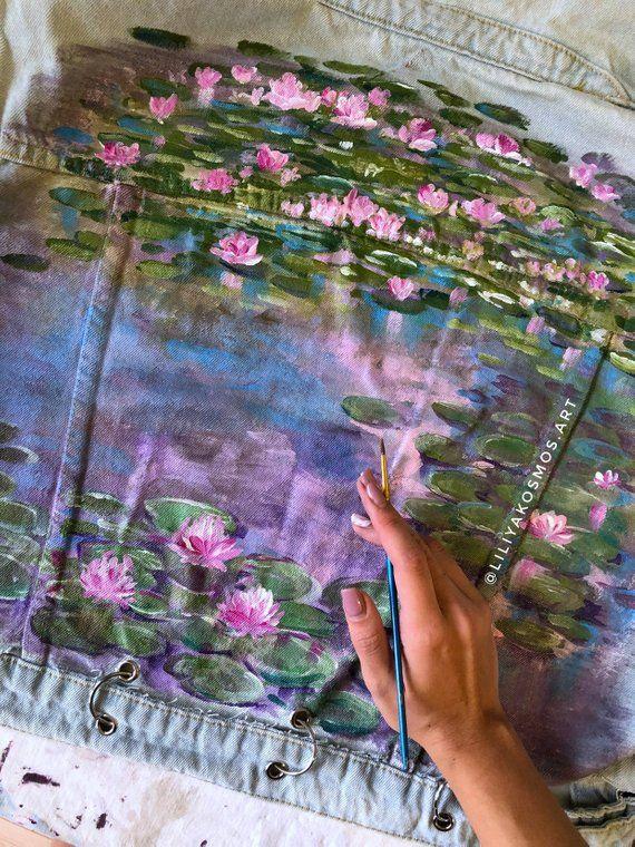 Hand painted denim jacket Claude Monet Water Lilies impressionism ( read the description)