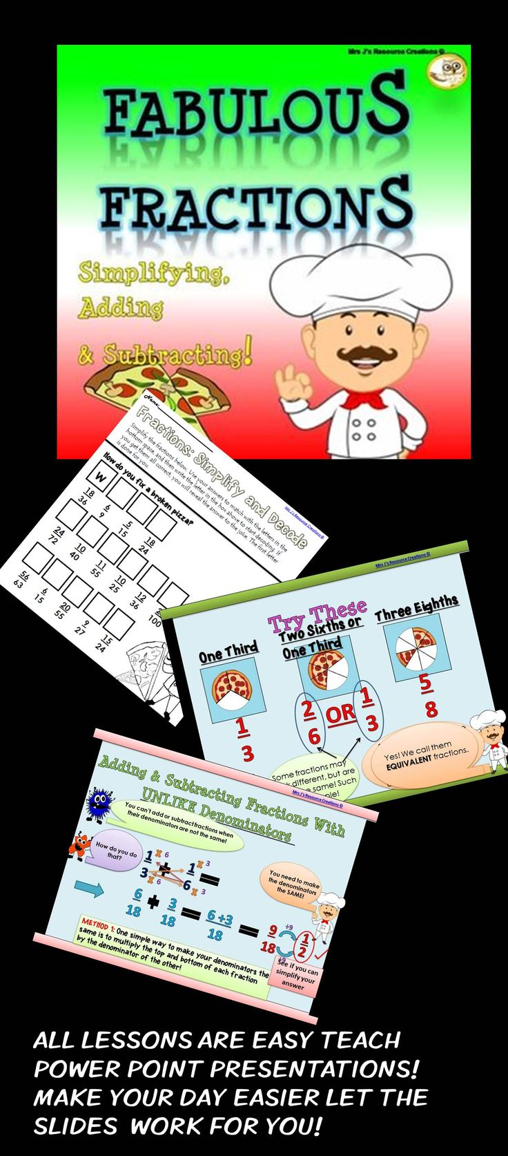 Fractions Unit  Guided Lessons + Worksheets