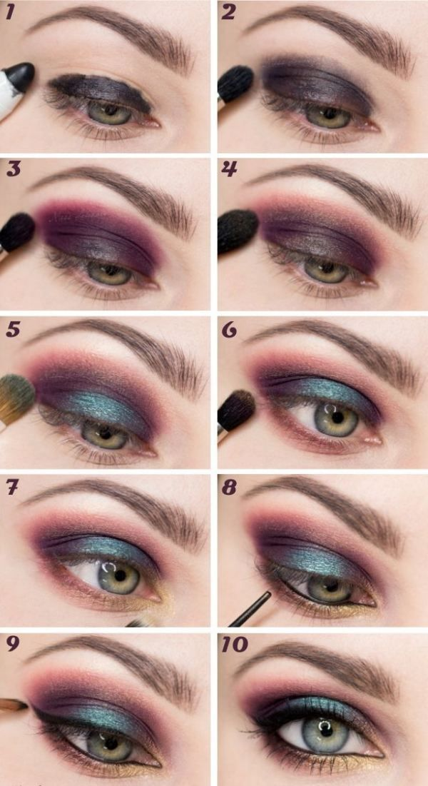 DIY :: Plum halo with a pop of teal. MAC Blue Brown pigment, MAC Club e/s or the Definer shade from the Wet n Wild Comfort Zone palette could work with possibly MAC Deep Damson as the base shade.