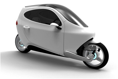 "Described as a ""motorbike-car"" hybrid, the Lit C-1 two wheeler uses a set of futuristic electronic gyroscopes to ensure it remains upright and balanced."