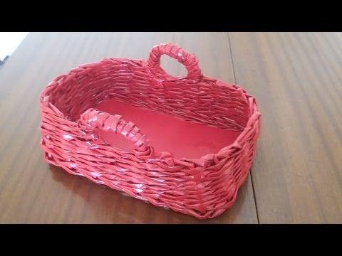 Gazete kağıdıyla dikdörtgen sepet yapımı / Rectangle basket with old newspaper - YouTube