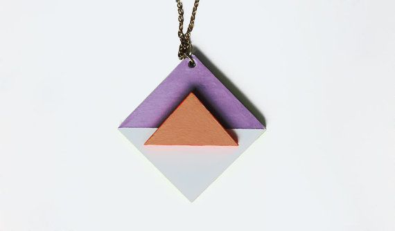 Half Triangle Half necklace with chain by overdress on Etsy, £12.00