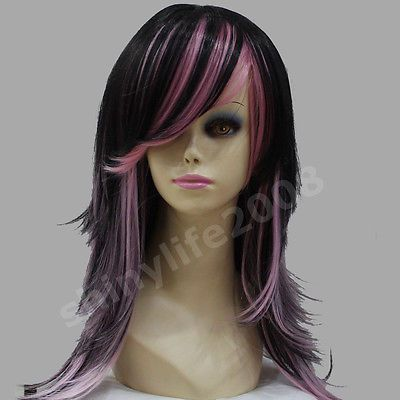 UKJF67-long-Cosplay-black-pink-Straight-Wig-hair-wigs-for-women