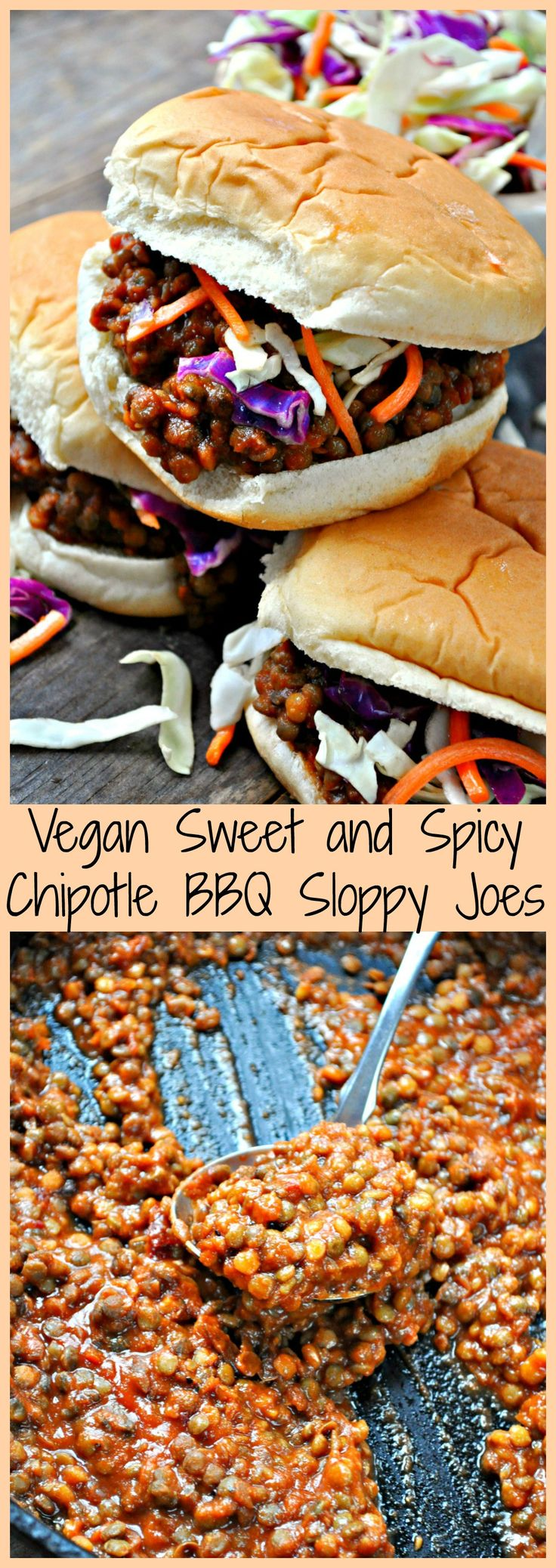 Lentils drenched in sweet and spicy chipotle BBQ sauce makes the best sloppy joes of all time! Plant based, refined sugar free BBQ sauce, and so awesome!