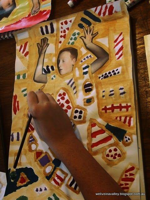 Gustav Klimt inspired project for school