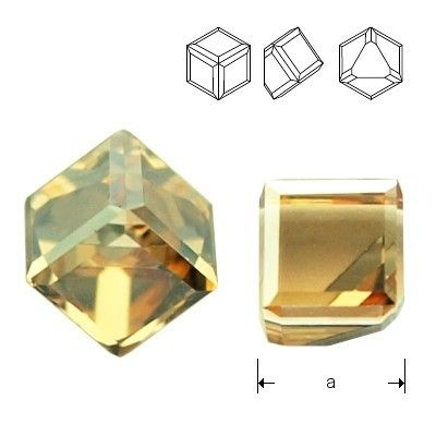 4841 Cube 6mm Crystal GSHA CALVZ  Dimensions: 6mm Colour: Crystal Golden Shadow VALVZ ( Crystal GSHA CALVZ ) 1 package = 1 piece