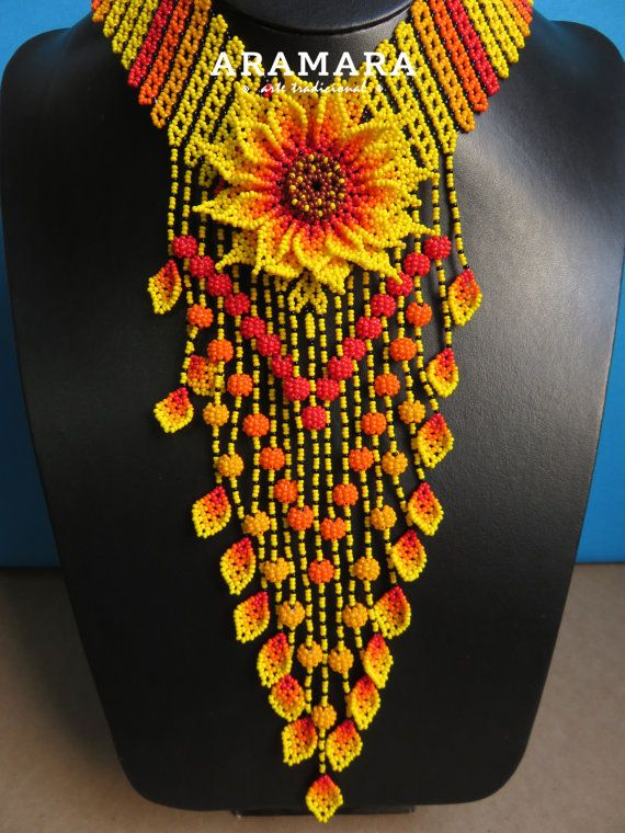 Mexican Huichol Beaded Yellow Flower Necklace CFG-0075 Mexican