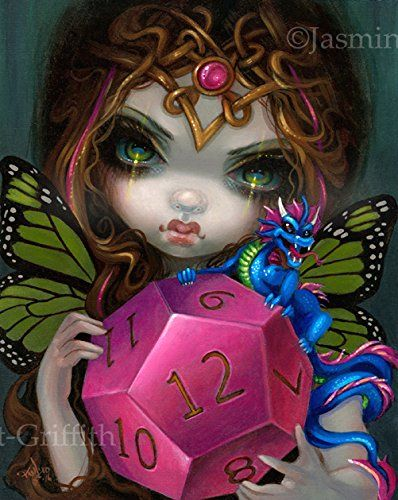 """""""12 Sided Dice Fairy"""" SIGNED Glossy Photo Art Print by Jasmine Becket-Griffith. As a kid growing up I was very much into Dungeons & Dragons (still am, wish I had more time!) - a huge part of what made me pursue a career in fantasy art. The first things that attracted me to the game were the artwork/illustrations and of course all the funny-sided dice! This is the second piece in the series (be sure to check out my 20 sided dice as well). This piece debuted at Dragon*Con 2016 - of course..."""