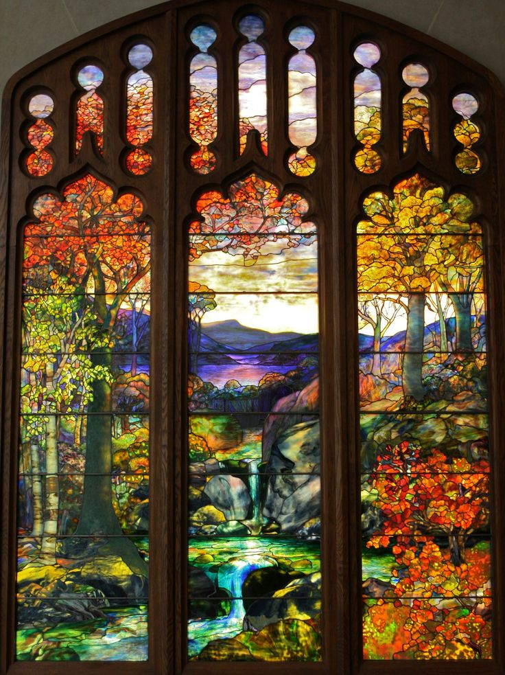 Description: New York City, NY: Metropolitan Museum of Art: Autumn Landscape (c1923, Tiffany Studios, New York City) 1 repin