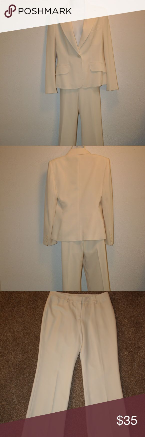 """ANNE KLEIN 2 Pc Pant Suit Sz 6 Cream Chest 37"""" Anne Klein Excellent Condition - No Stains or Holes Cream or Ivory Pant Suit Lined 6 Shell:  100% Polyester Lining:  100% Acetate    Coat: One Button Closure Fitted Seams Long Sleeves Three Buttons At Sleeve Hem Two Front Pockets Chest:  37"""" (armpit to armpit then doubled) Waist:  33"""" Sleeve Length Outside:  24 1/2"""" Length:  26"""" (top of rear collar then down) Shoulder Seam to Shoulder Seam: 16""""   Pants: Zipper and Two Hook Closure Waist:  30""""…"""