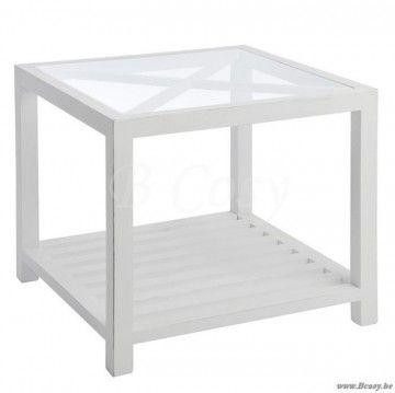 """J-Line Witte bijzettafel met kruis bovenaan in wit hout en glazen blad 50 <span style=""""font-size: 0.01pt;"""">Jline-by-Jolipa-40013</span>"""