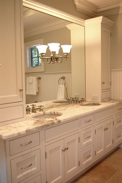 This is a foot vanity  with a basic vanity in between two drawer units on  either side  and wide tall upper cabinets for toiletry storage. Best 25  Tall bathroom cabinets ideas on Pinterest   Bathroom