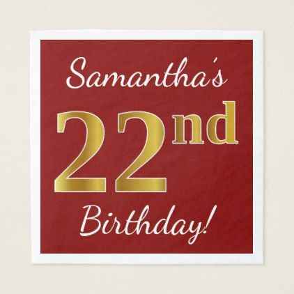 Red Faux Gold 22nd Birthday Custom Name Napkin