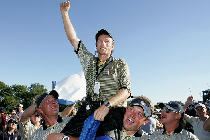 In 2004, Germany's Bernhard Langer captained Europe to its record victory on US soil. At the Oakland Hills Country Club in Michigan, Langer's men led from start to finish. The first session of fourballs set the tone, as Europe registered 3 ½ out of a possible 4 points. Leading 11–5 as they headed into Sunday, Europe was pegged back by Tiger Woods' victory in the first singles match. But the feared American onslaught never materialized and Europe coasted home by nine points, 18 ½ - 9 ½…