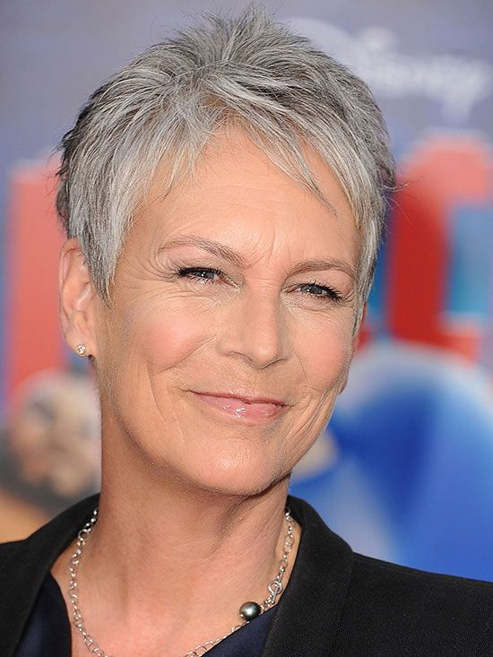 A pixie cut, like Jamie Lee Curtis's, is a great way to transition to all-gray! Find more of our favorite looks here: http://www.bhg.com/beauty-fashion/hair/your-guide-to-gray-hair/?socsrc=bhgpin082814jamieleecurtis&page=9