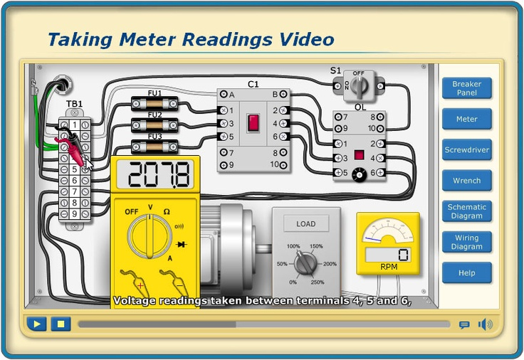 Volt Meter Reading instruction and Video Demonstrations in the  Troubleshooting Motor Circuits program (TMC) that is part of our V4 Electrical Troubleshooting Skills Series at http://www.bin95.com/electrical_software_downloads.htm